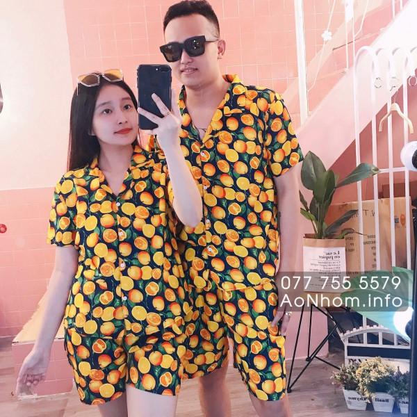 Bộ đi biển kiểu pijama - Cam vàng