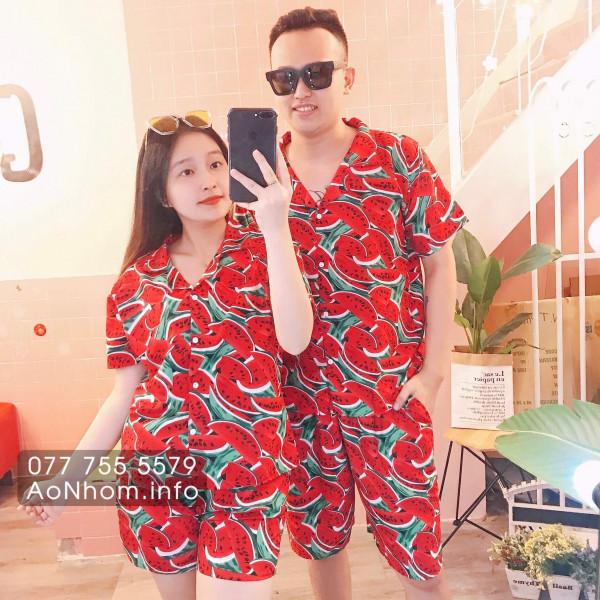 Bộ đi biển kiểu pijama - Dưa hấu đỏ