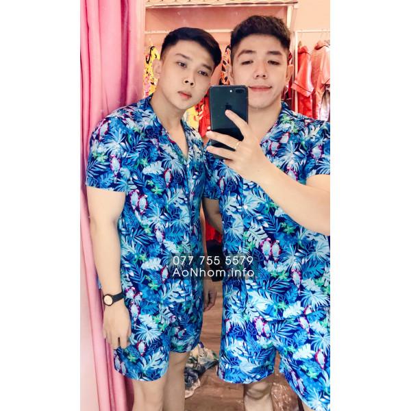 Bộ đi biển kiểu pijama - Vẹt xanh dương