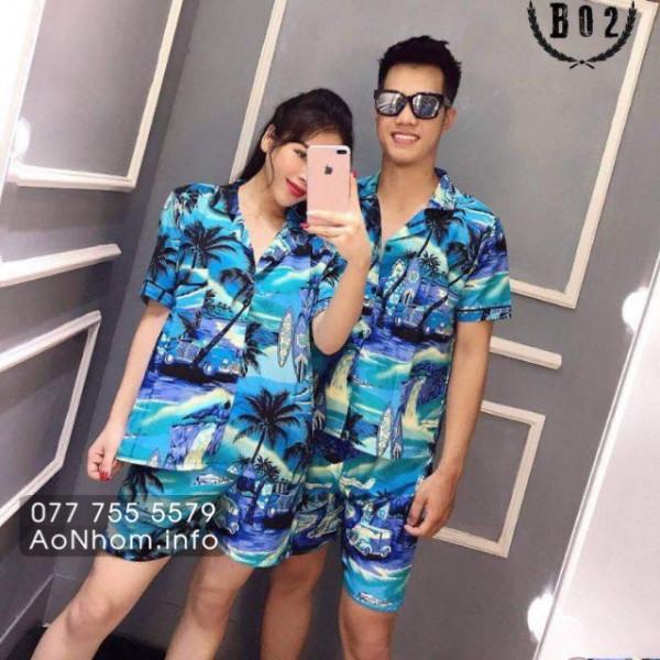 Bộ đi biển kiểu pijama - Cây dừa xanh d�...