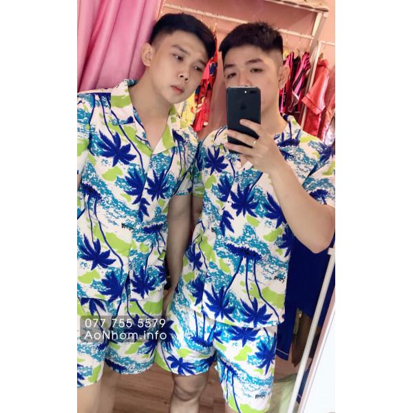 Bộ đi biển kiểu pijama - Cây dừa xanh nhạt