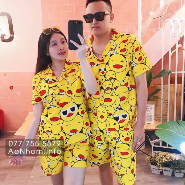 Bộ đi biển kiểu pijama - Mặt cười vàng